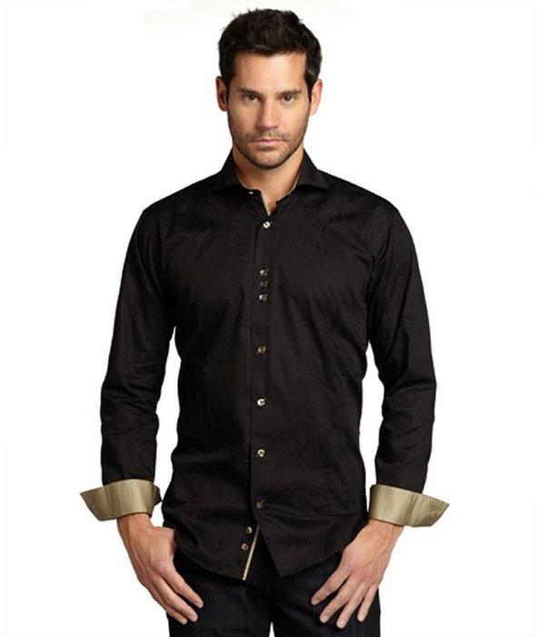 Bogosse black jacquard cotton 'Kaz' button front shirt