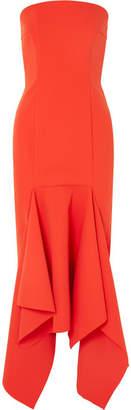 SOLACE London Veronique Strapless Asymmetric Crepe Midi Dress - Red