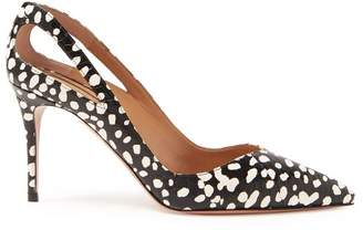 Aquazzura Shiva 85 Cheetah Print Watersnake Pumps - Womens - Black White