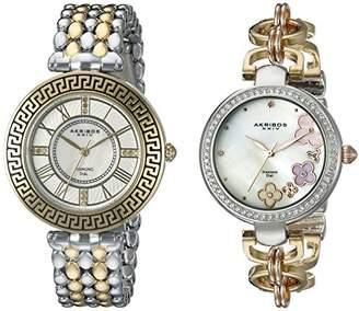 Akribos XXIV Women's AK886TT Genuine Diamond Quartz Two Tone Bracelet Watch