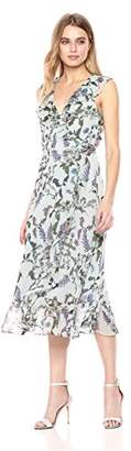 Donna Morgan Women's Printed Chiffon Wrap Dress
