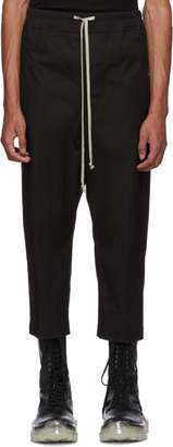 Rick Owens Black Drawstring Astaires Cropped Trousers
