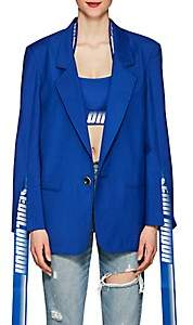 D-ANTIDOTE Women's Hanging-Tab Wool-Blend One-Button Blazer - Blue