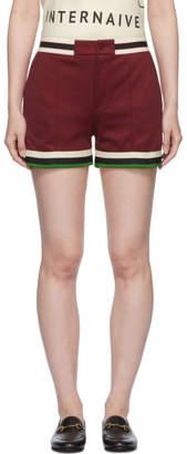 Gucci Burgundy Webbing Tape Shorts