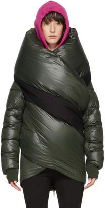 Unravel Green Shiny Down Cape Jacket