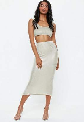 Missguided Gold Glitter Ribbed Maxi Skirt