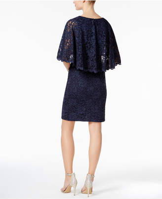 Jessica Howard Glitter Lace Capelet Dress $129 thestylecure.com
