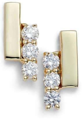 Sylvie Dana Rebecca Designs Rose Diamond Bar Stud Earrings