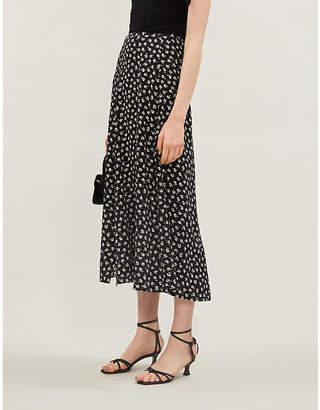 Reformation Zoe floral-print crepe midi skirt