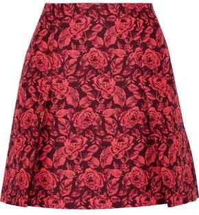 Erdem Calista Pleated Neon Floral-Jacquard Mini Skirt