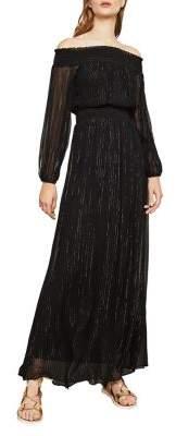 BCBGMAXAZRIA Off-The-Shoulder Smocked Maxi Dress
