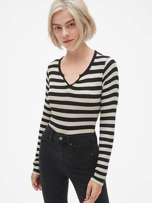 51e1784f4bb58b Gap Ribbed Stripe Long Sleeve Notch-Neck T-Shirt