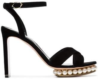 Nicholas Kirkwood black casati 105 suede leather platform sandals
