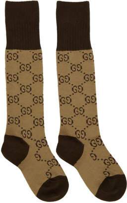 Gucci Brown and Beige Long GG Socks