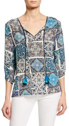 Tolani Edith Mosaic Tile Print Split-Neck 3/4-Sleeve Silk Tunic