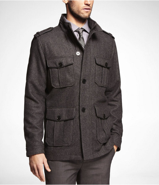 Novelty Wool Blend Four Pocket Military Jacket