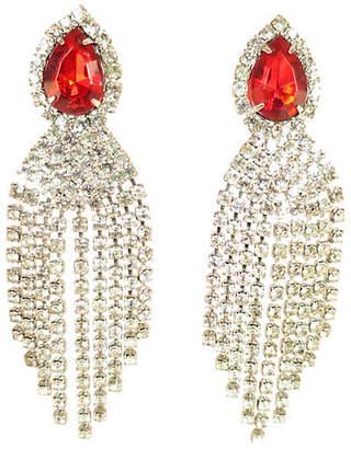 One Kings Lane Vintage 1950s Ruby Crystal Waterfall Earrings