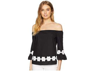 Romeo & Juliet Couture Floral Embroidery Detail Top Women's Blouse