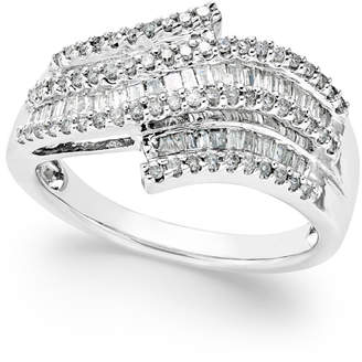 Macy's Diamond Wave Right Hand Ring (1/2 ct. t.w.) in Sterling Silver