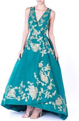 Oscar de la Renta Emerald Gold Gown