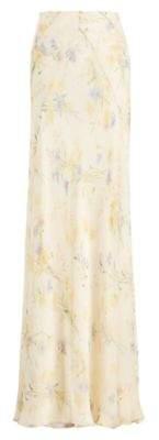 Ralph Lauren Jacqueline Floral Silk Skirt Parchment 10