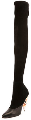 Givenchy Suede Enamel-Heel Over-The-Knee Boot, Black $2,195 thestylecure.com
