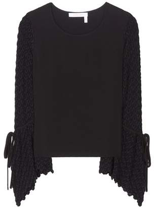 See by Chloe Knitted and crêpe top