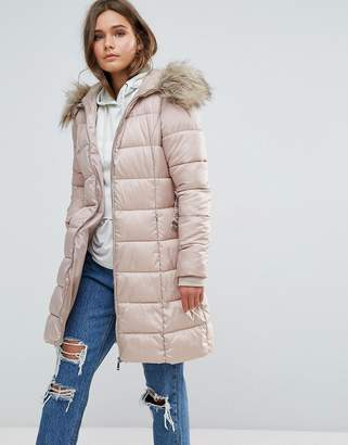 New Look Padded Coat With Extreme Faux Fur Hood