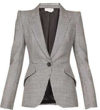 Alexander McQueen Single Breasted Prince Of Wales Checked Blazer - Womens - Black White