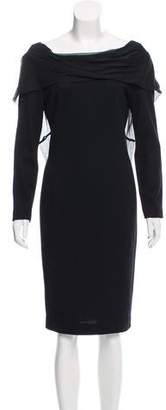 Tahari Long Sleeve Wool Dress