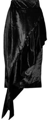 Milly Asymmetric Ruffled Velvet Skirt