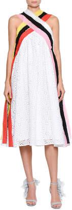 MSGM Sleeveless A-Line Crisscross Eyelet Dress w/ Colorful Strands