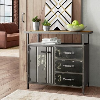 Williston Forge Hartland 1 Door 3 Drawer Metal and Wood Utility Accent Cabinet Williston Forge