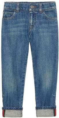 Gucci Kids Web detail straight leg jeans