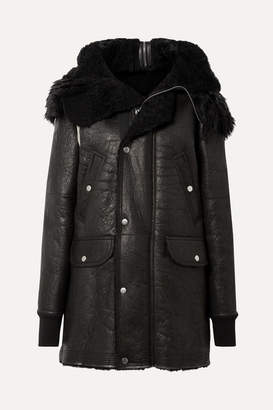 Rick Owens Hooded Shearling Coat - Black