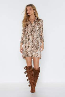 Nasty Gal Womens Snake The High Road Mini Shirt Dress - Beige - 6, Beige