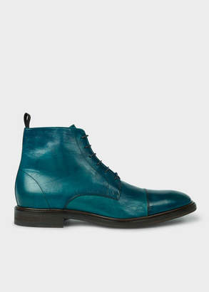 Paul Smith Men's Dip-Dyed Teal Calf Leather 'Jarman' Boots