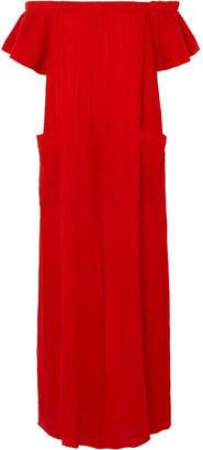 Mara Hoffman Blanche Off-the-shoulder Organic Cotton Jumpsuit - Red