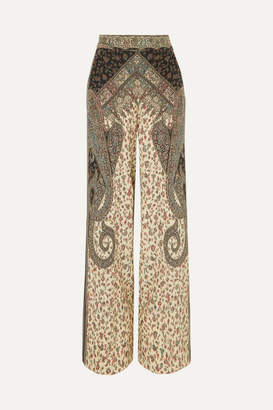 Etro Printed Silk Wide-leg Pants - Beige