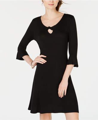 Ultra Flirt Juniors' Keyhole Printed Bell-Sleeve Dress