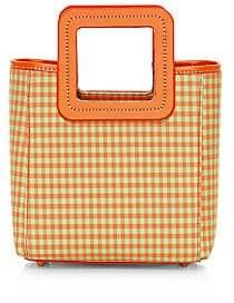 STAUD Women's Mini Shirley Gingham Leather & Nylon Tote