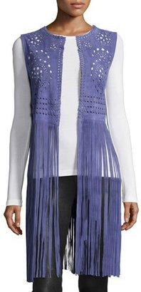 Bagatelle Perforated Suede Vest W/Fringe, Blue $395 thestylecure.com