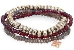 Sydney Evan Mini Moroccan Flower Diamond, Pyrite, Rhodolite Garnet, Labradorite & 14K Rose Gold Beaded Triple-Wrap Bracelet