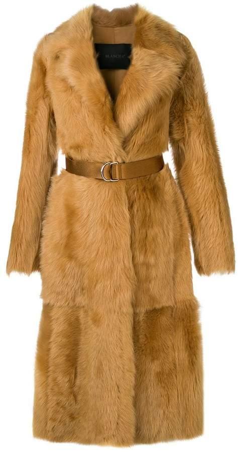 Blancha raccoon fur belted coat