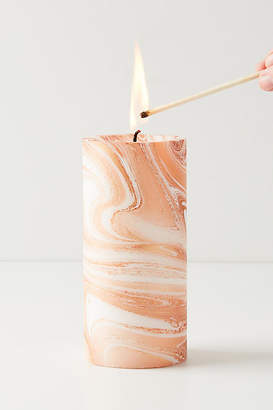 No One Alike Marbled Pillar Candle