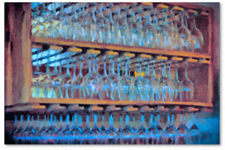 """Lois Bryan 'Drinks on the House in Electric Blue' Canvas Art - 30"""" x 47"""""""