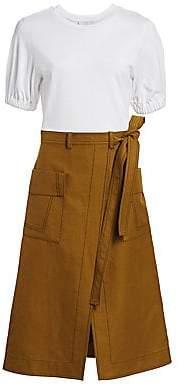 3.1 Phillip Lim Women's Tee & Topstitch Skirt A-Line Dress