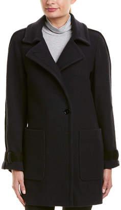 Reiss Aysha Suede-Trim Wool Jacket