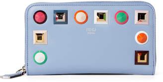 Fendi Sky Rainbow Studded Zip-Around Wallet