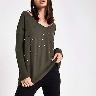 River Island Khaki hacci pearl embellished V neck sweater